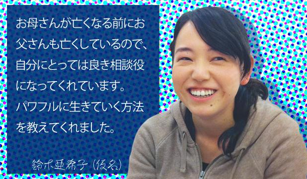 鈴木亜希子様(仮名) お客様の声「お母さんがなくなる前にお父さんも亡くしているので、自分にとっては良き相談役になってくれています。パワフルに生きていく方法を教えてくれました。